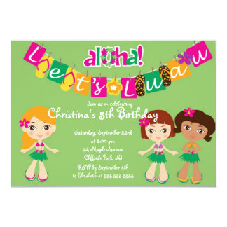 Cute Aloha Luau Birthday Party Invitations