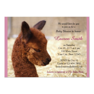 Cute Alpaca Baby Shower Invitations Pink