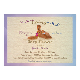 Cute Alpaca Boy Girl Twins Baby Shower Invitations