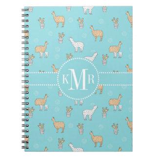 Cute Alpaca Llama Cactus Pattern Notebooks