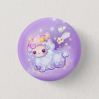 Cute alpaca with kawaii shooting star 3 cm round badge