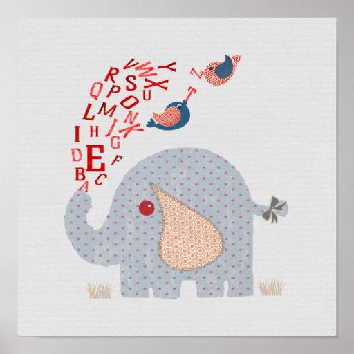 Cute Alphabet Elephant Baby Nursery Print