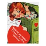 Cute Altered Vintage Girl in Mailbox Valentine Postcard