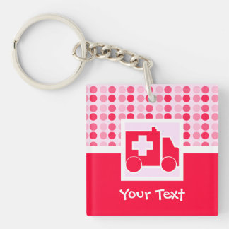 Cute Ambulance Double-Sided Square Acrylic Key Ring