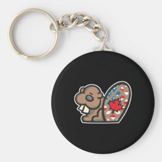cute american canadian beaver basic round button key ring