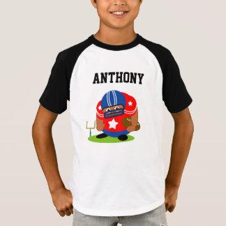 Cute American football player holding a football, T-Shirt