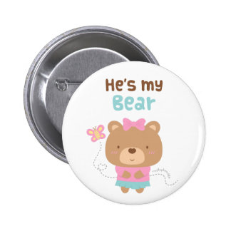 Cute Amusing Couple Female Bear and Butterfly Pins