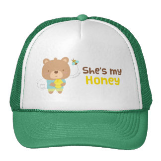 Cute Amusing Couple Male Bear and Bee Mesh Hat