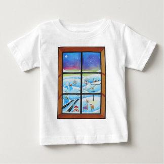 Cute anaimals looking through a window baby T-Shirt