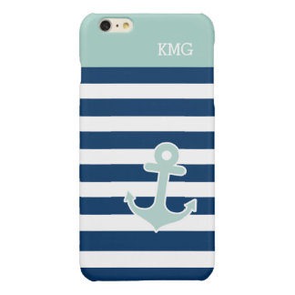 Cute Anchor Monograms in Trendy Mint Navy Stripes