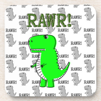 Cute and Angry T-Rex With Black And White Pattern Coaster