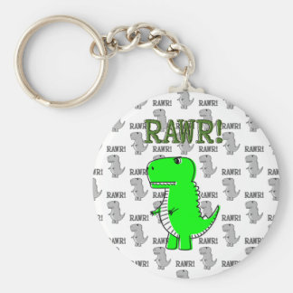 Cute and Angry T-Rex With Black And White Pattern Key Ring