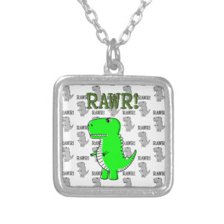 Cute and Angry T-Rex With Black And White Pattern Silver Plated Necklace