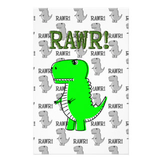 Cute and Angry T-Rex With Black And White Pattern Stationery