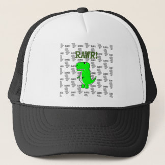 Cute and Angry T-Rex With Black And White Pattern Trucker Hat