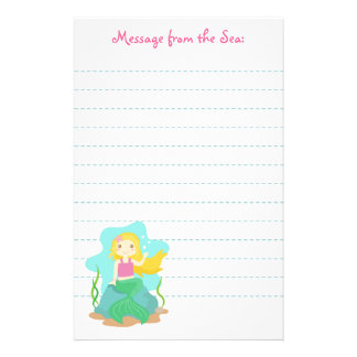Cute and Beautiful Mermaid, for Girls Stationery Design