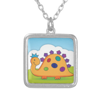 Cute and colorful cartoon spotted dinosaur custom necklace