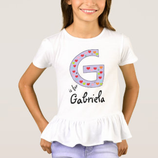 Cute and Colorful Letter G Personalized Girls T-Shirt