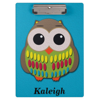 Cute and Colorful Owl Blue Personalized Clipboard