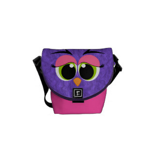 Cute and Colorful Purple Furry Bird Green Eyes Messenger Bag