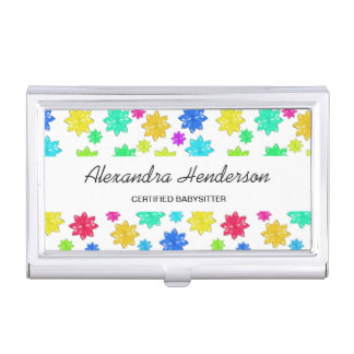 Cute and Colorful Stars Babysitter Child Care Business Card Holder