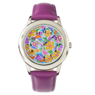 Cute and Colorful Yellow and Purple Floral Watch