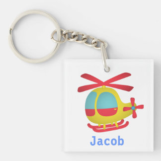 Cute and Colourful Helicopter for Kids Single-Sided Square Acrylic Key Ring