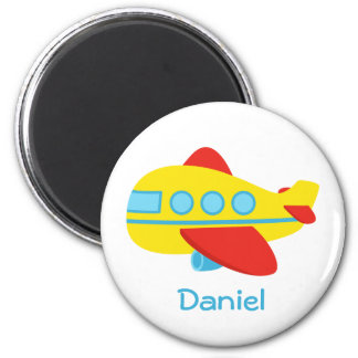 Cute and Colourful Passenger Aeroplane 6 Cm Round Magnet