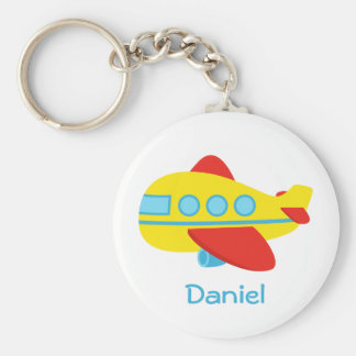 Cute and Colourful Passenger Aeroplane Basic Round Button Key Ring