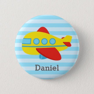 Cute and Colourful Passenger Aeroplane, for Boys 6 Cm Round Badge