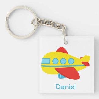 Cute and Colourful Passenger Aeroplane Single-Sided Square Acrylic Key Ring