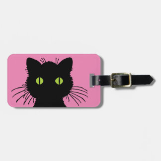 Cute and Curious Black Cat with Large Green Eyes Luggage Tags