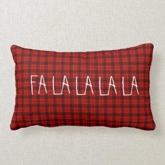 Cute and Elegant FA LA LA Christmas Plaid Pattern Lumbar Cushion