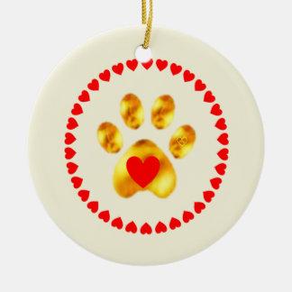 Cute and elegant gold paw ceramic ornament