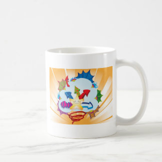 Cute and excited star bursting through clouds coffee mug