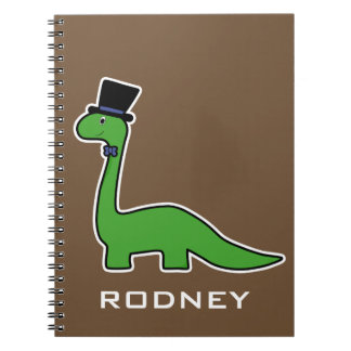 Cute and Fancy Green Dinosaur with Top Hat Notebook