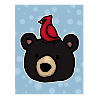 Cute and Friendly Bear and Cardinal Postcard