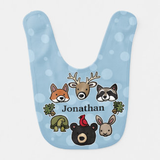 Cute and Friendly Forest Animals, Add Child's Name Bib