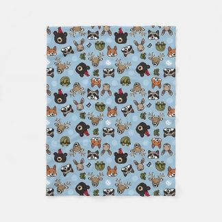 Cute and Friendly Forest Animals, Add Monogram Fleece Blanket