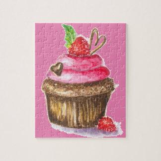 Cute and Fun Chocolate and Raspberry Cupcake Jigsaw Puzzle