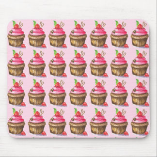Cute and Fun Chocolate and Raspberry Cupcake Mouse Pad