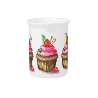 Cute and Fun Chocolate and Raspberry Cupcake Pitcher