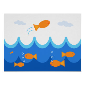 Cute and Fun Flying Fish Illustration Poster