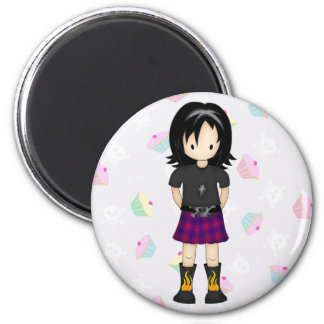 Cute and Funky Little Emo or Goth Girl Cartoon 6 Cm Round Magnet