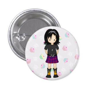 Cute and Funky Little Emo or Goth Girl Cartoon Pinback Buttons