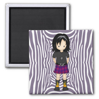 Cute and Funky Little Emo or Goth Girl Cartoon Square Magnet