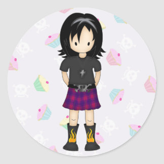 Cute and Funky Little Emo or Goth Girl Cartoon Round Sticker