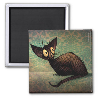 Cute and Funny Black Oriental Cat Art Magnet