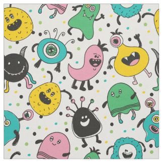 Cute and funny cartoon monster pattern fabric