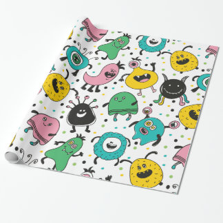 Cute and funny cartoon monster pattern wrapping paper